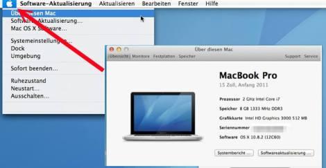 Apfel Menü über diesen Mac